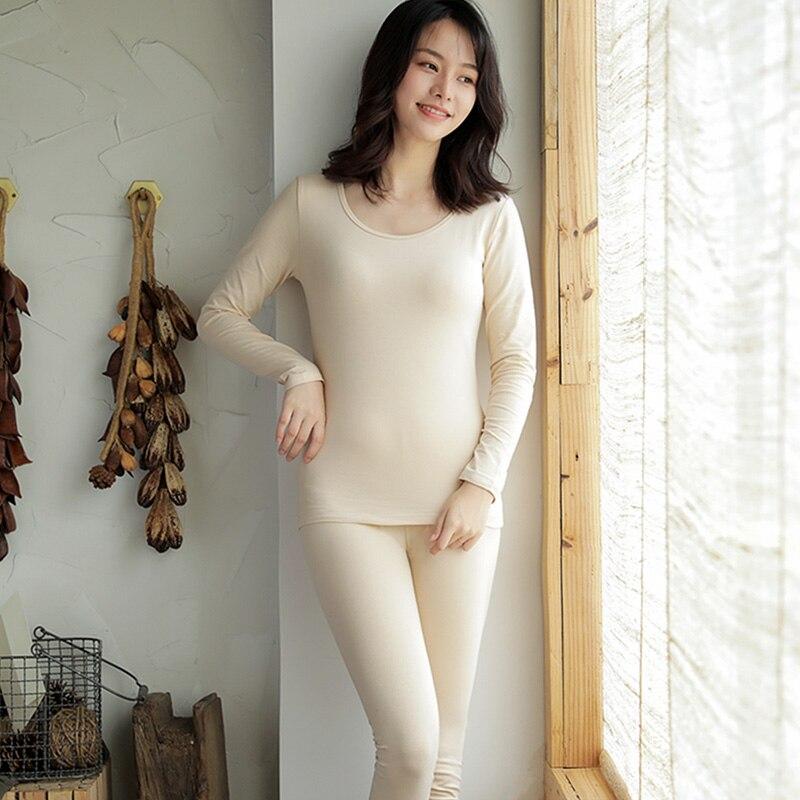Solid Color Pajamas Women's Pure Cotton Thermal Underwear Skin Color Basic Set Student Autumn Clothe
