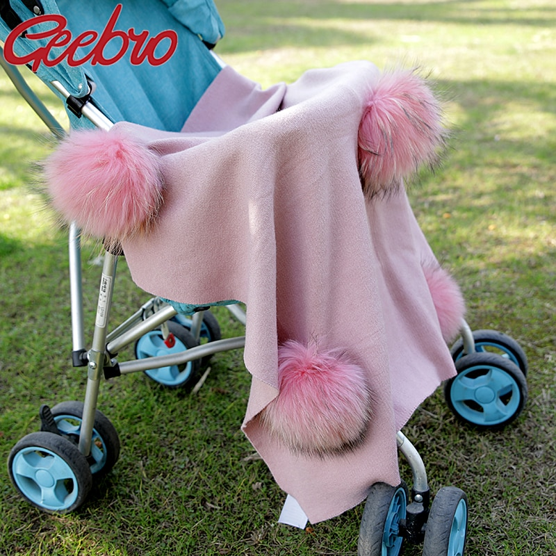 Geebro Newborn Kids Baby Warm Cashmere Swaddling Blanket Travel Sleeping Blanket Bedding Swaddles With 6 Real Raccoon Fur Pompom