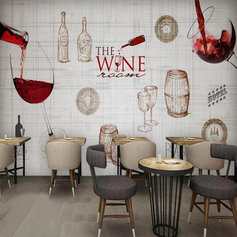 Пользовательские фото обои в европейском стиле ретро льняная текстура винный красный винный бар украшение фоновая роспись Papel De Parede 3 D