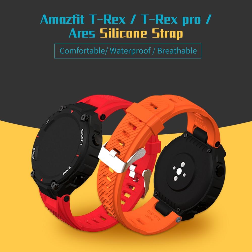 умные часы amazfit t rex smart watch standart eu зеленый камуфляж а1919 SIKAI Soft Silicone Watch Band For Amazfit T-Rex Pro Smartwatch Colorful Watch Strap For Amazfit Ares T-Rex Smart Watch