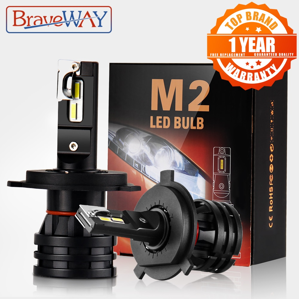 BraveWay-لمبات المصابيح الأمامية للسيارة ، مصباح أمامي LED H4 H7 H8 H3 H11 H1 9005 9006 HB3 HB4 ، لمبات توربو للسيارات 12 فولت CANBUS
