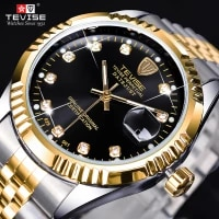 tevise luxury brand diamond gold black fashion watch stainless steel automatic mechanical clock calendar unique gift for men