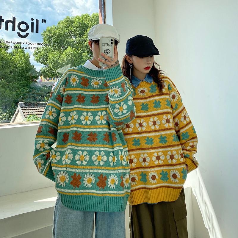 Daisy Pattern Sweaters for Men Korean Autumn Fashion Trends Knit Pullovers Couples Crewneck Jumper Oversized Harajuku Streetwear wave pattern open knit jumper