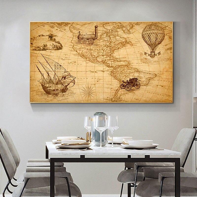 Pintura Da Lona Americas Mapa do Mapa do vintage Retro Velho Cartazes e Cópias de Pinturas para sala de Estudo Decoração Da Parede Art Home Decor Quadro