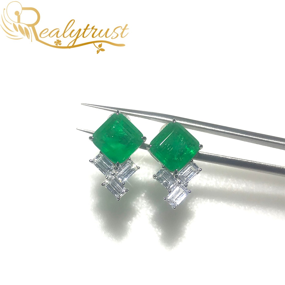 Realytrust Fashion 9*9mm Square Synthesis Colombian Emerald Stud Earrings Silver 925 Jewelry Women E