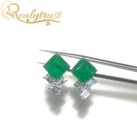 Realytrust Fashion 9*9mm Square Synthesis Colombian Emerald Stud Earrings Silver 925 Jewelry Women Earrings Wedding Party