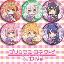6 pièces/1lot Anime princesse connecter Re plongée Yui Pecoline Kokkoro Figure 4882 Badges broche ronde broche cadeaux enfants jouet