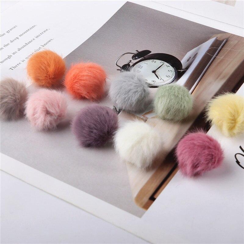 20 Uds 2,5 cm visón imitación felpa de pelo bolas suministros para manualidades DIY pendientes colgante adornos pelo accesorios pompones Material