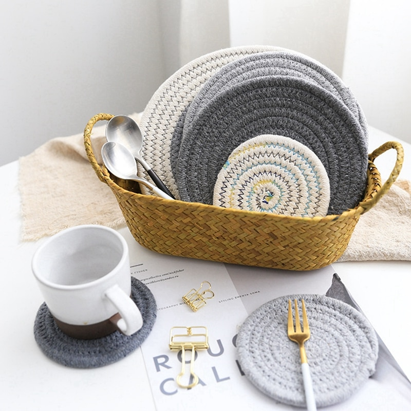 Round Cotton Linen Insulation Pad Placemat Non-slip Heat-resistant Table Mat Coaster Bowl Dining Kitchen Accessories