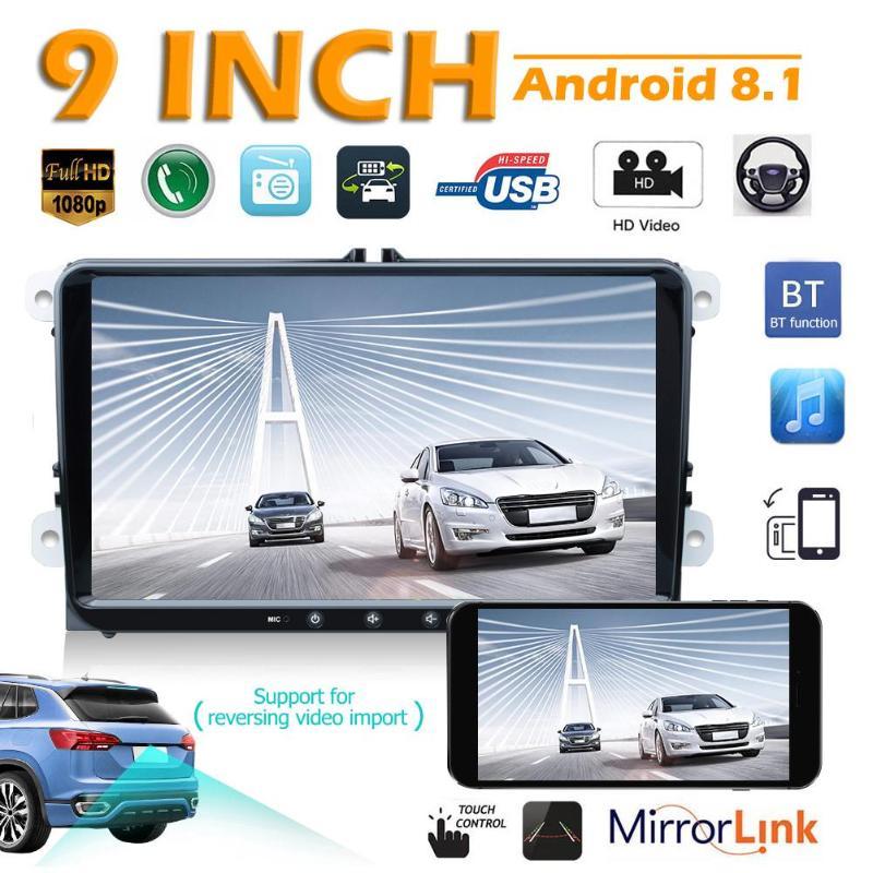 K9 Quad Core Android 8,1 coche estéreo MP5 Player 9 pulgadas de navegación GPS Bluetooth WiFi USB FM unidad frontal de Radio para VW Golf EOS Passat