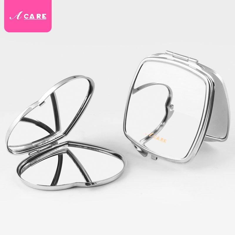 1PC Folding Portable Double-sided Makeup Vanity Mirror Metal Round Heart Shaped Easy To Open Make Up