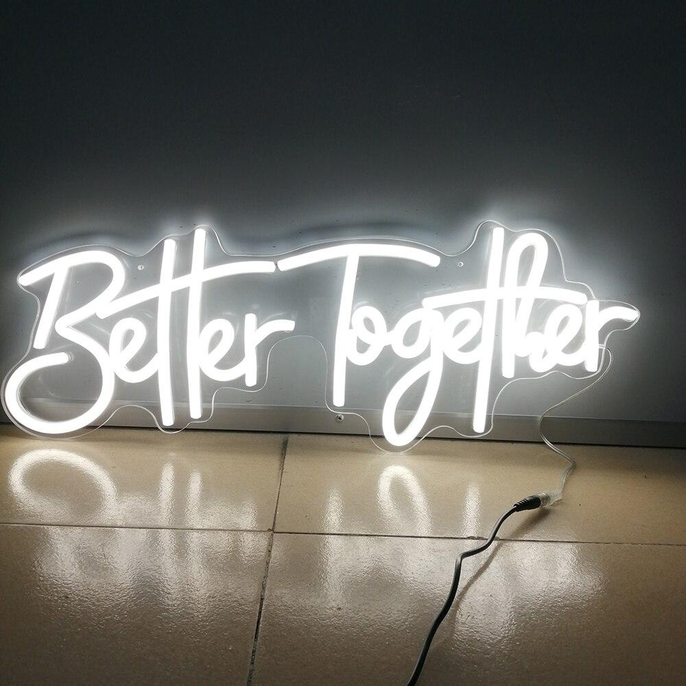 شعار نيون مخصص أفضل معا 56x20 سنتيمتر فليكس نيون عيد ميلاد سعيد مصباح ليد حفلة طبق إكريليك جدار المصابيح الديكور رسالة ضوء
