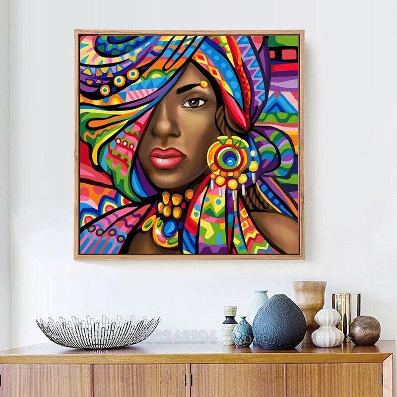 5d diy pintura diamante ponto cruz senhora africana colorido mosaico diamante bordado decoração de casa quadrado completo broca imagem ff1772
