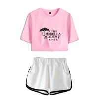 crop t shirt top shorts suit the umbrella academy cosplay funko pop 5 printed women two piece set sexy summer short sleeve tee