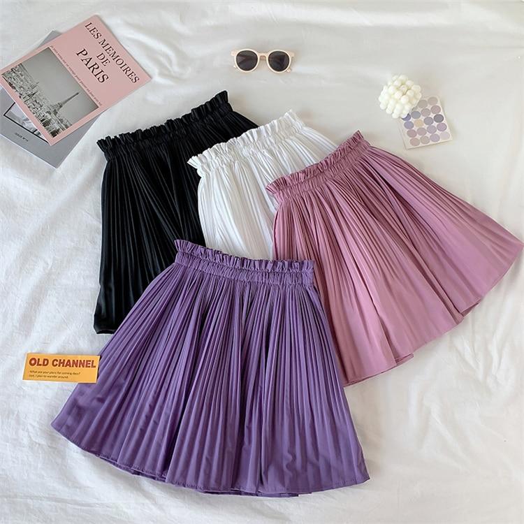Vintage faldas plisadas mujeres Harajuku verano alta cintura Chic sólido Mini faldas señoras falda Streetwear jupe femme