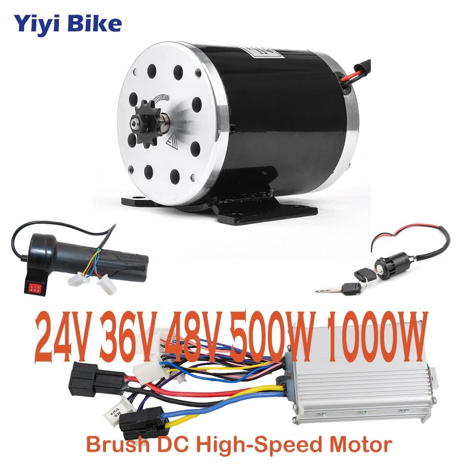 Kit de conversión de Motor cepillado DC para bicicleta eléctrica, controlador de...