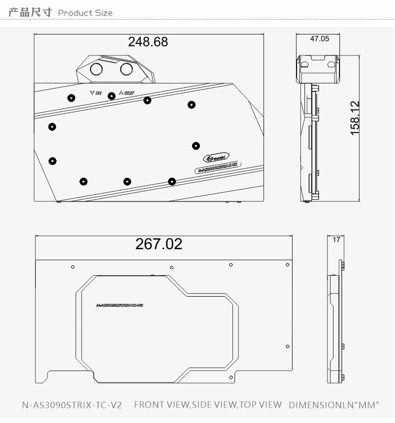 Bykski Water Block use for ASUS ROG STRIX RTX3090 /RTX3080 + Backplane water Cooling GPU Card / Full Cover Copper Radiator Block