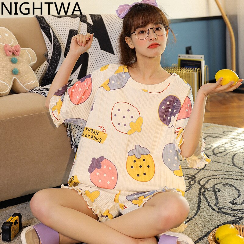 NIGHTWA Summer Women Pajamas Set Cute Colorful Strawberry Print Pajamas Cotton Homewear Kawaii Femme