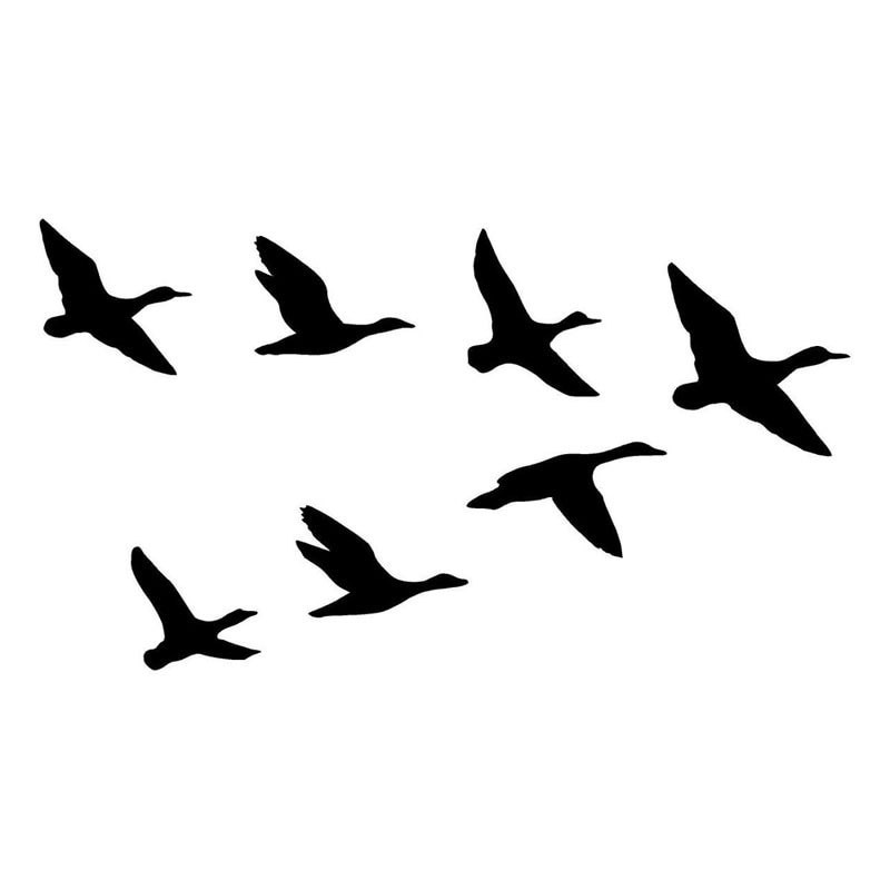 Personality Group of Wild Duck Car Sticker Fashion Motorcycle Sunscreen Decal Car Decorative KK PVC Vinyl Apply To Car Window