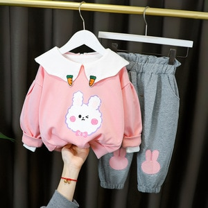 Children Girls Clothes Set Spring Autumn Fashion Cotton Tops+pants 2pcs 1-4Y Girls School Style Clothing Set For Girls Outfit