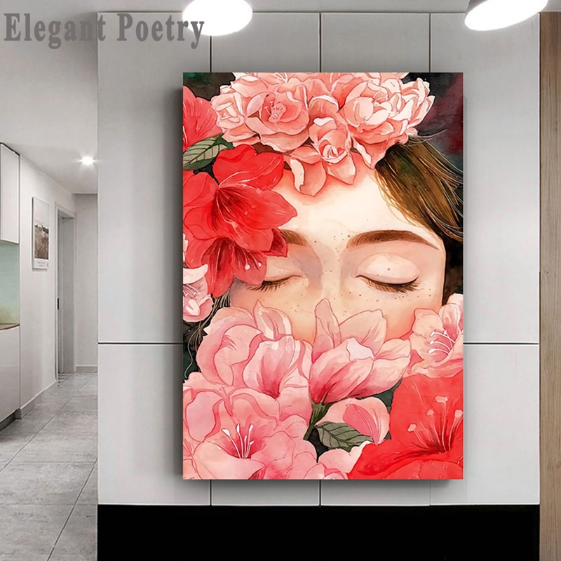 Скандинавский плакат и цветочный узор Девушка мультфильм портрет стены искусства холст картина Картина гостиная украшение дома скандинав...