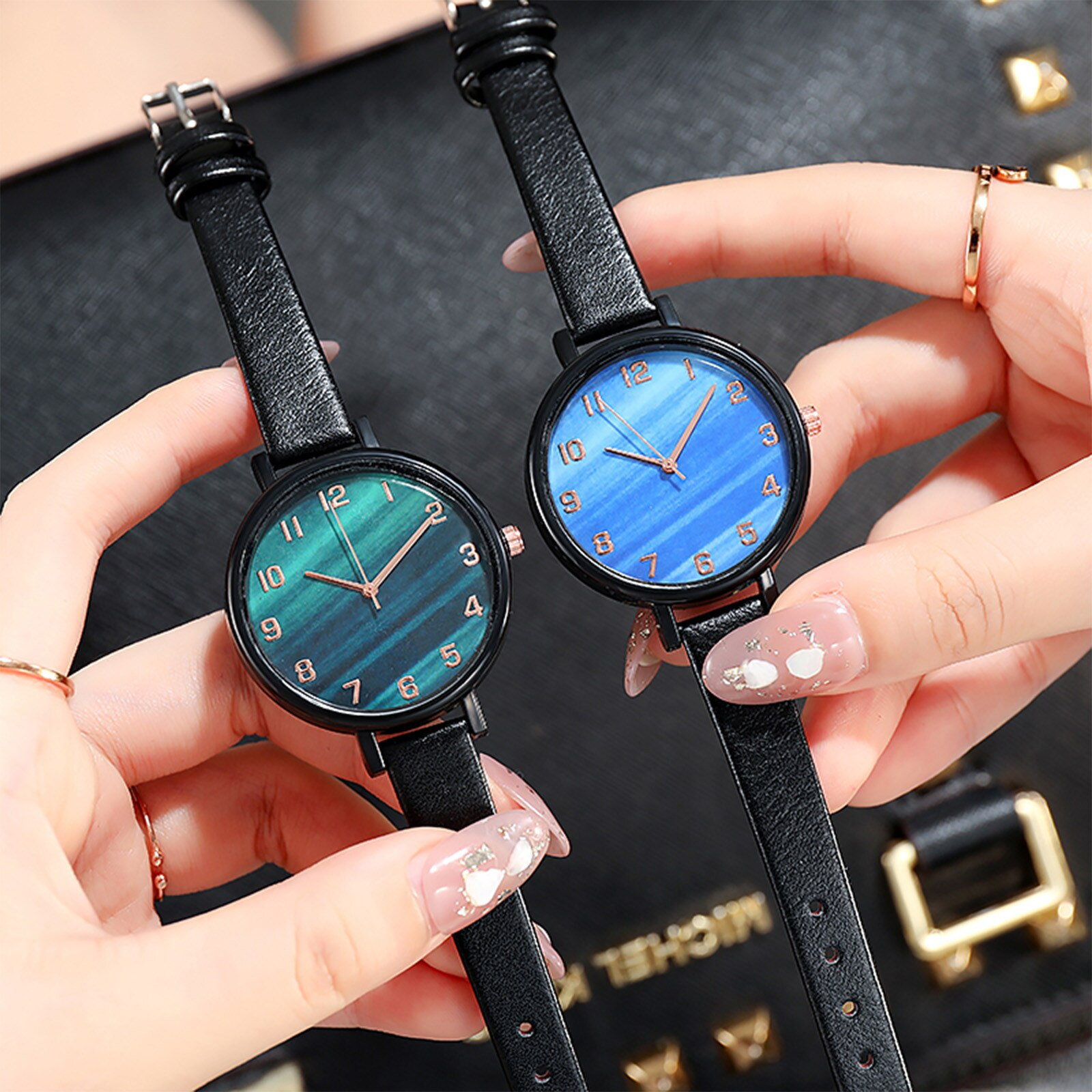 Simple Round Dial Watch For Men Ladies Casual Fashion Quartz Watch Malachite Green Dial Leather Stra