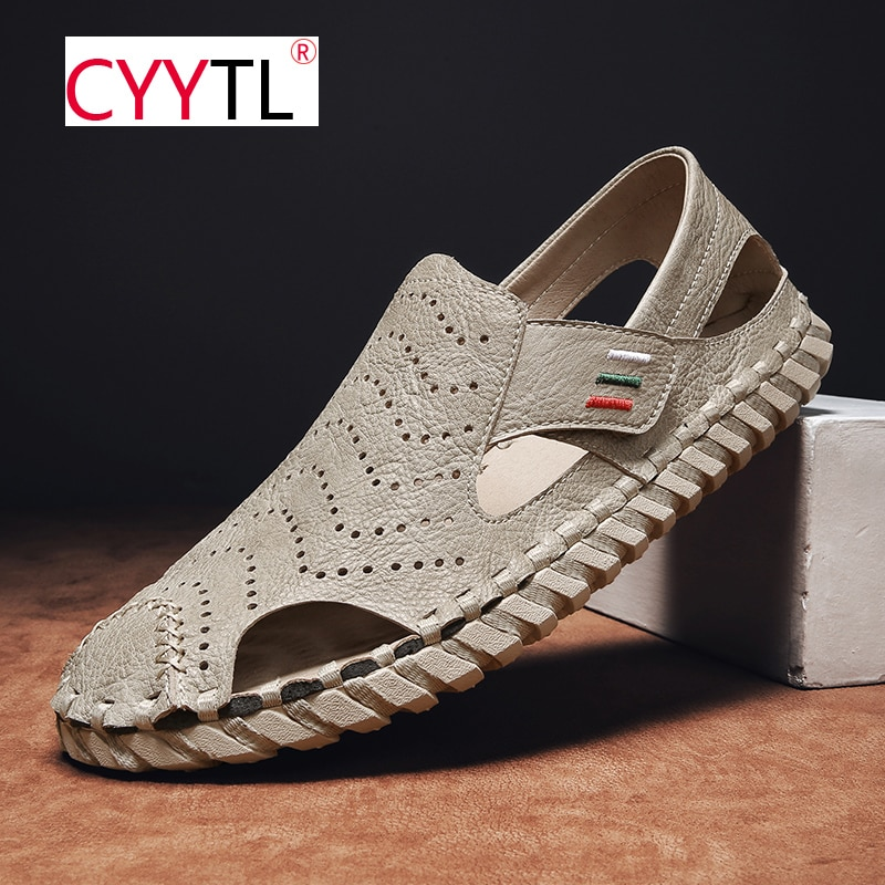 CYYTL Slip on Men Summer Sandals Outdoor Closed Toe Beach Breathable Slippers Leather Handmade Shoes Sport Hollow Out Hausschuhe