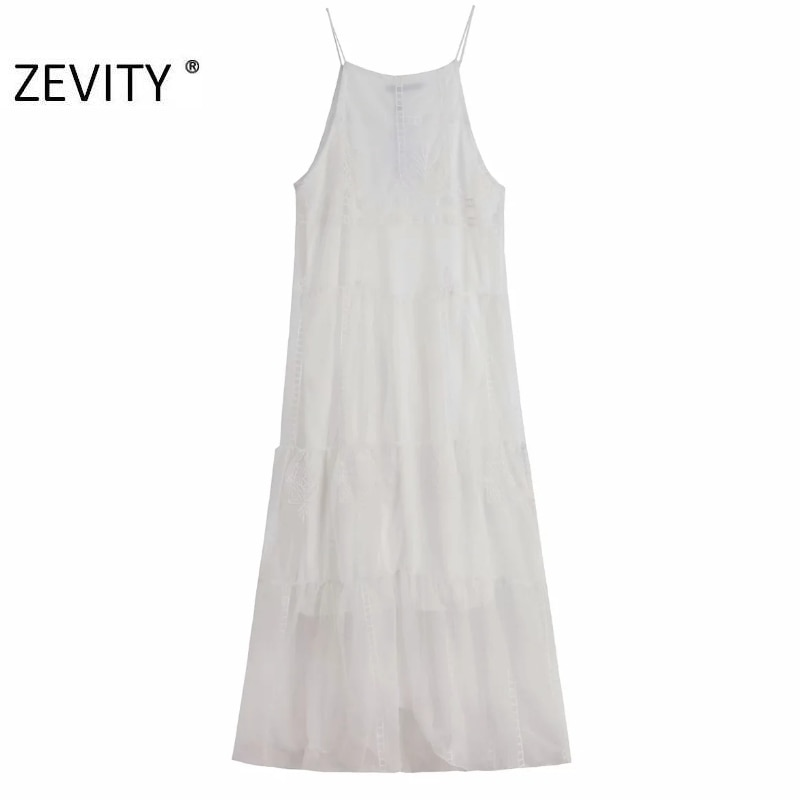 ZEVITY New Women elegant o neck embroidery mesh yarn patchwork halter Dress female spaghetti strap Vestidos Chic Dresses DS4370