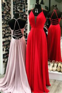 Vkbridal V-Neck Red Chiffon Prom Dresses with Pockets Long Floor Length Party Dresses Sexy Back Formal Evening Gowns for Women