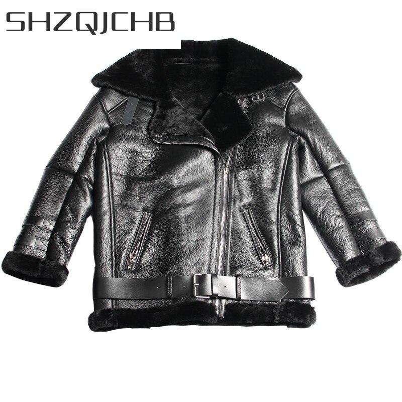 JCHB 2021 Winter Women Luxury Real Fur Jacket Warm Wool Lining Shearling Coat Genuine Leather Design Boyfriend Motor Biker Femal