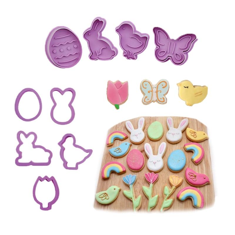 1 conjunto série de páscoa molde biscoito grau alimentício plástico animal cortador biscoito 3d desenhos animados coelho moldes ferramenta cozimento cupcake diy suprimentos