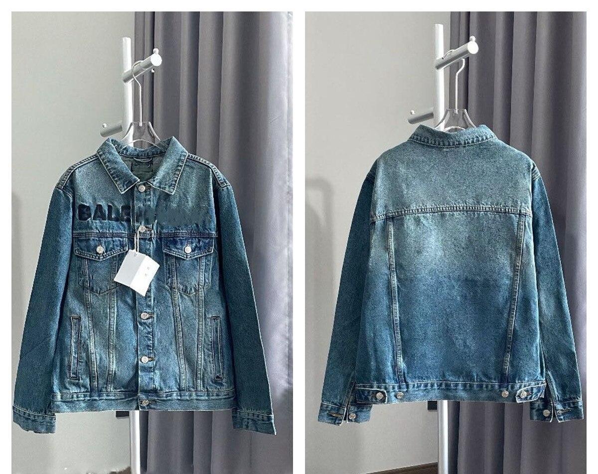 2021 Paris Spring and summer Fashion Hip Hop Denim Jacket Male Cowboy Ripped Hole European Size S~XL 153