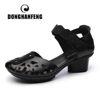 dongnanfeng womens ladies cool summer female genuine leather shoes sandals beach hollow high heel retro hook loop size 35 41