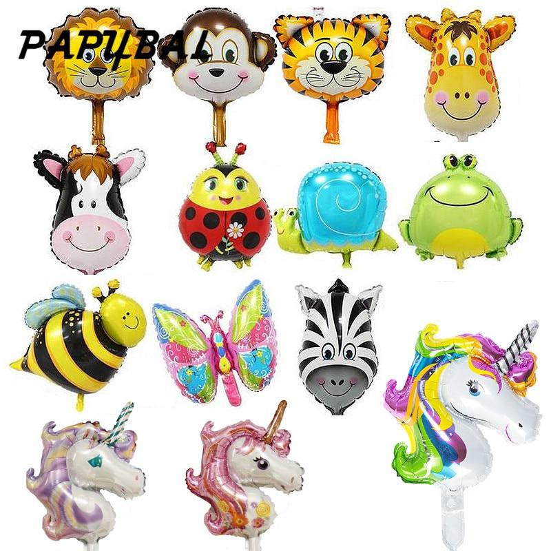 50 Uds. Globos de animales de Safari decoración de fiesta de cumpleaños unicornio y mono y cabeza de cebra y vaca Safari zoo foil balones clásicos de juguete