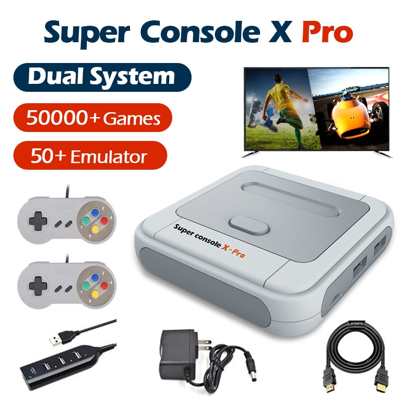 Super Console X Pro 4K HD Retro Game Console For PSP/PS1/DC/N64 Video Game Console With 50000+ Games KODI Support 2 Players