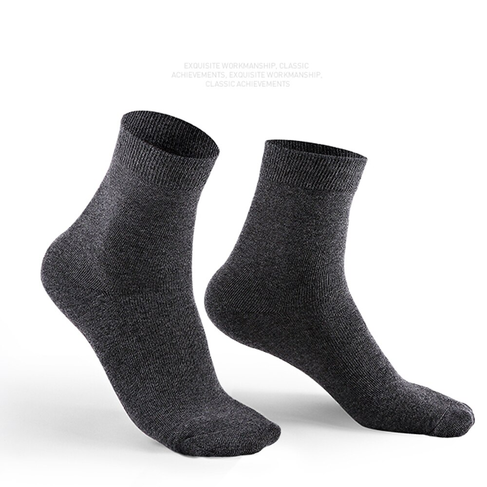 10 Pairs of Men's Solid Color New Business Casual Long Warm Cotton Socks Black Gift