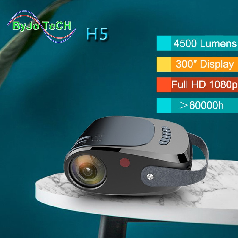 ByJoTeCH-Proyector portátil H5 Full HD 1080P, reproductor de vídeo opcional para Android,...