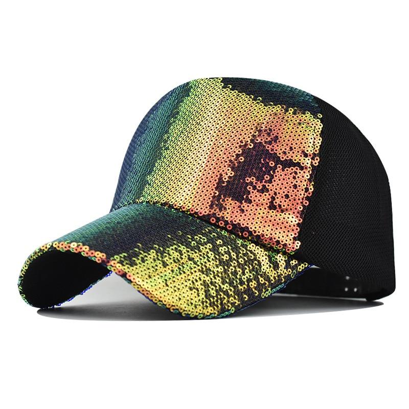 baseball cap unisex camouflage summer cap mesh hats for men women casual hats hip hop baseball caps hat peaked cap visors new Unisex Cap Fashion Casual Sequins Mesh Baseball Cap Adjustable Snapback Hats for Women Men Hip Hop Outdoor Sun Hat