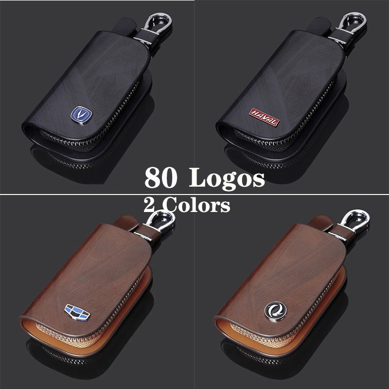 Car Key Case Leather Key Wallet Cover For Geely Changan Haval Toyota Honda BMW Mercedes Audi Ford Vo