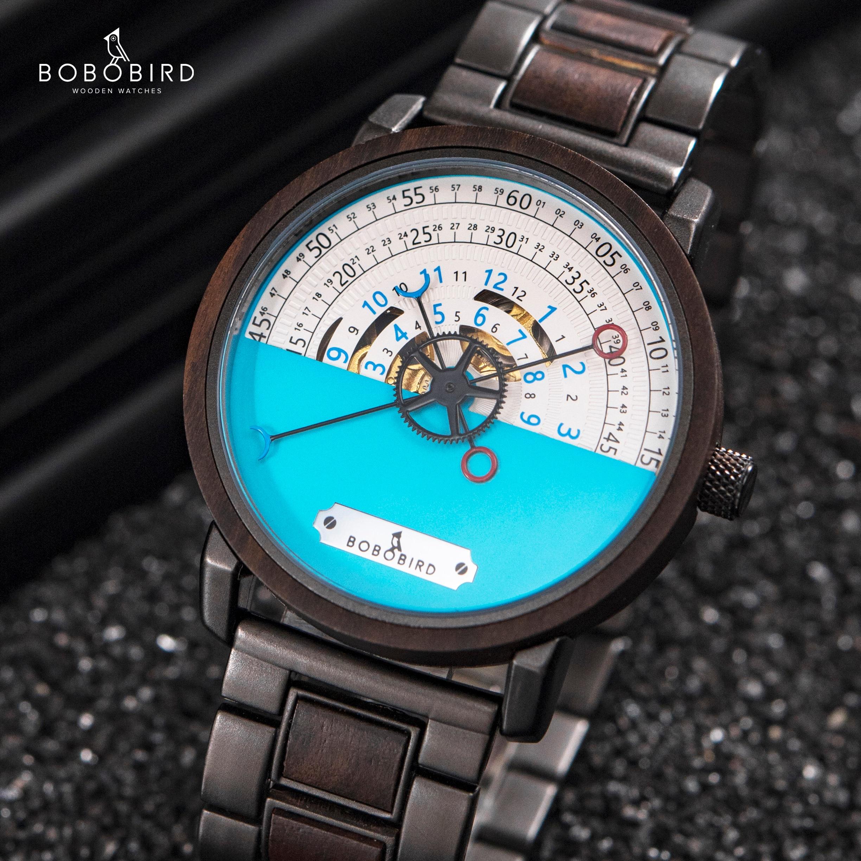 BOBO BIRD-ساعة رجالية ميكانيكية من الفولاذ المقاوم للصدأ ، أوتوماتيكية ، مقاومة للماء ، مع شعار مخصص ، لهدايا الكريسماس