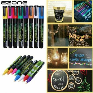EZONE 8 Color Electronic Highlighter Set Highlighter Fluorescent Liquid Chalk Marker Pen Painting Graffiti Office Supplies Gift