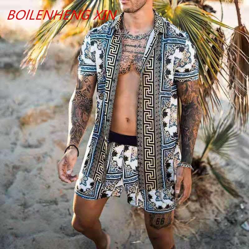 NEW Men Hawaiian Sets Printing 2021 Summer Short Sleeve Button Shirt Beach Shorts Streetwear Casual Mens Suit 2 Pieces INCERUN