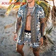 חדש גברים הוואי סטי הדפסת 2021 קיץ קצר שרוול כפתור חולצה חוף מכנסיים Streetwear מקרית Mens חליפת 2 חתיכות INCERUN