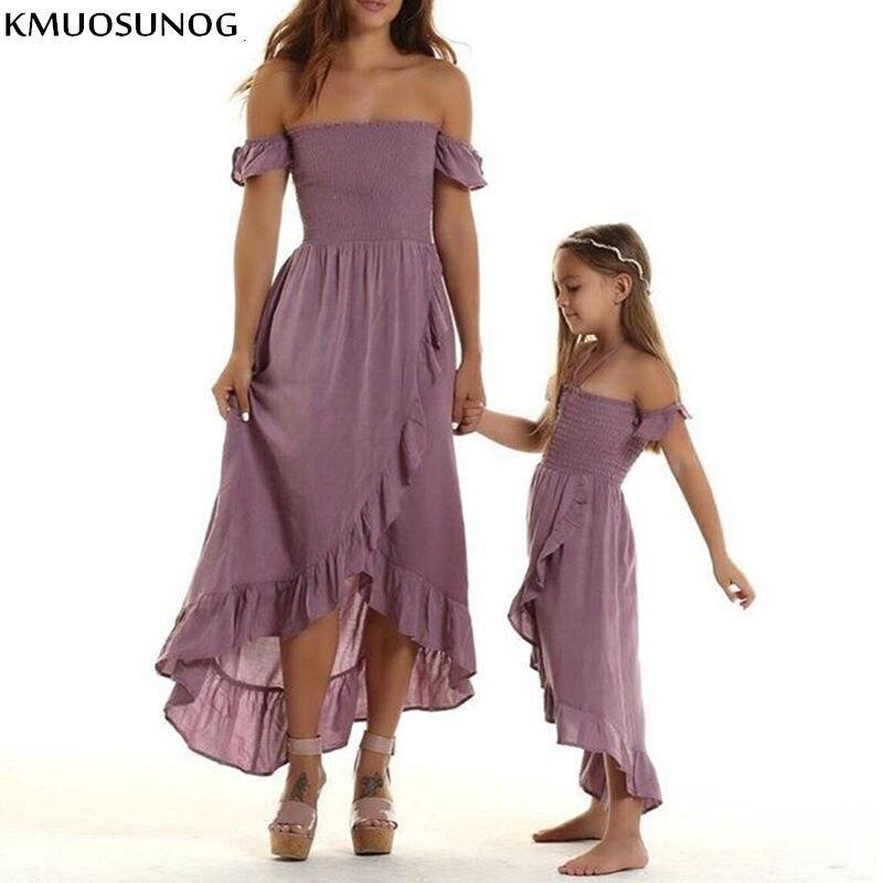 Mãe filha vestidos de verão fora do ombro sem alças irregulares babados praia vestido família combinar roupas mamãe e me roupas