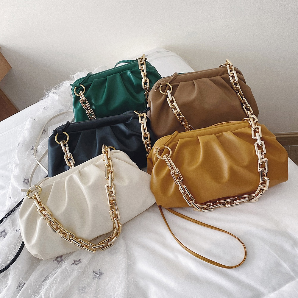Women Thick Gold Chain Shoulder Bags PU Leather Cloud Messenger Party Crossbody Handbag Leisure Solid Color Travel Clutch Purses