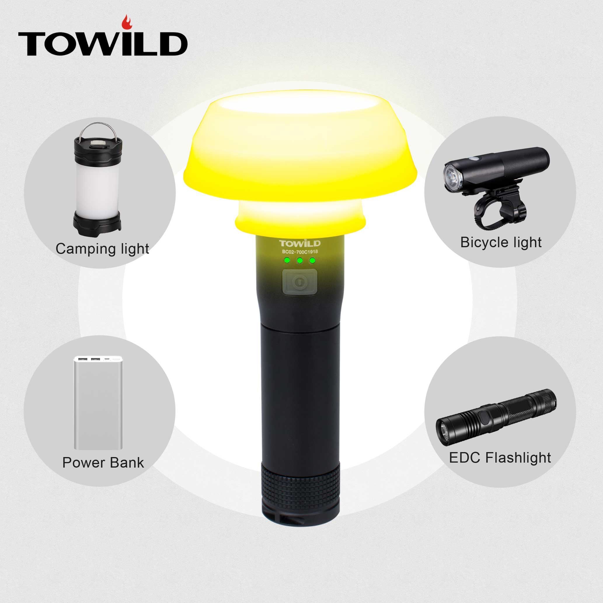 TOWILD-مصباح دراجة احترافي ، 700 لومن ، مصباح يدوي ، مصباح تخييم ، باور بانك ، كوب قابل للطي ، ملحقات الدراجة