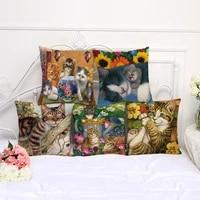 cute cat printed cushion cover for home decor and living room decoration cojines decorativos para sofa pillow cover cat