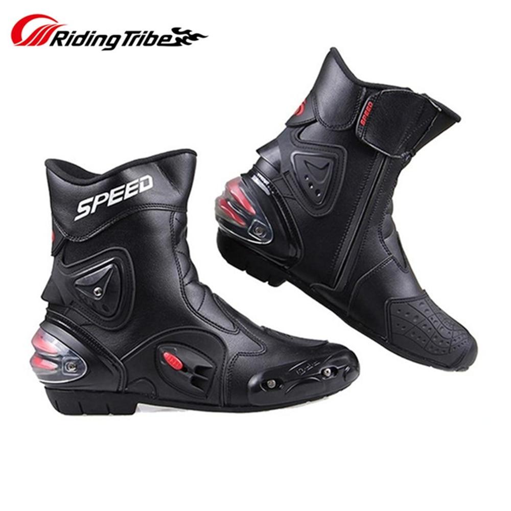 أحذية ركوب الدراجات النارية للرجال والنساء ، أحذية جلدية من الألياف الدقيقة ، مضادة للانزلاق ومضادة للتصادم ، أحذية واقية للقدم A004