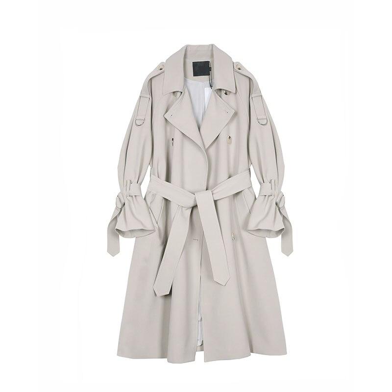 Primavera otoño coreano mujeres Elegante Epaulet con cinturón Trench coat Moda mujer...