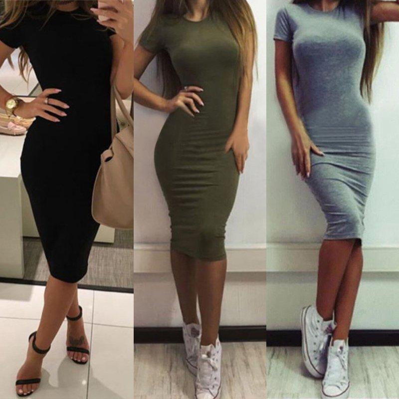 Летние женские платья 2021, офисное платье, женские платья с коротким рукавом, облегающее пляжное платье, однотонные мини-платья, халаты
